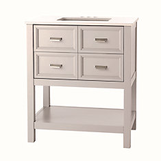 Gatefield 30-inch 4-Drawer Vanity in Dove Grey with Engineered Stone Top in White