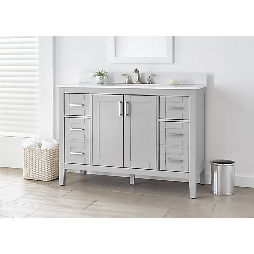 Ellia 48-inch Vanity in Grey with White Carrera Top