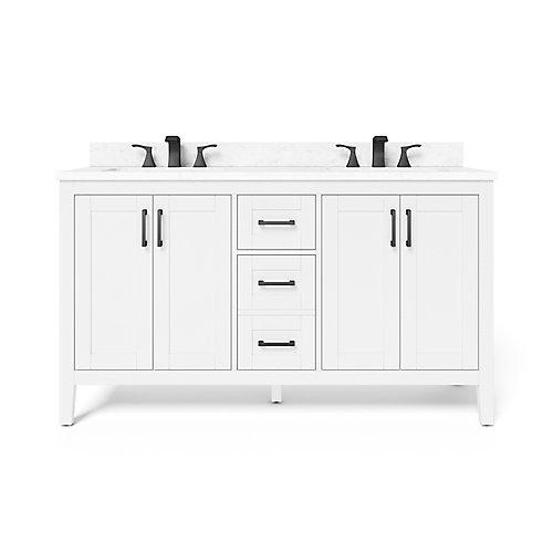 Ellia 60-inch 4-Door 2-Drawer Bathroom Vanity in White with Engineered Carrara Marble Top