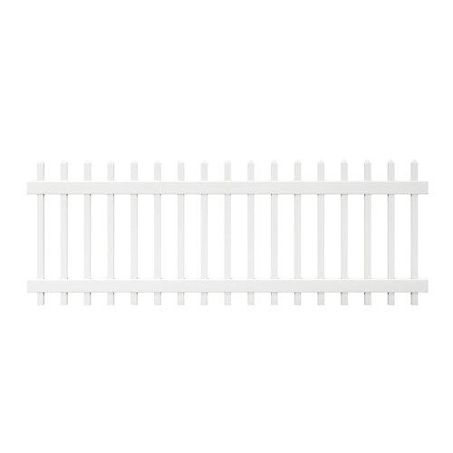 Panneau de clôture Chelsea en vinyle blanc de 0,9 m haut x 2,4 m lar (3 pi haut x 8 pi lar) à lattes verticales espacées