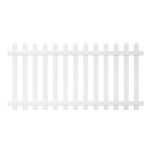 Panneau de clôture Glendale de vinyle blanc de 1,22 m haut x 2,4 m lar (4 pi haut x 8 pi lar), à lattes espacées pointues