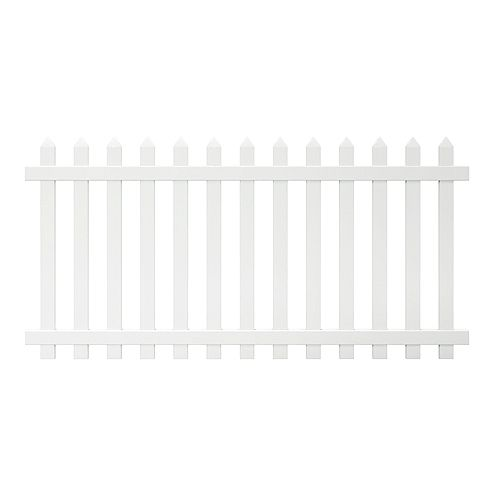 Veranda Glendale 4 ft. H x 8 ft. W White Vinyl Spaced Picket Fence Panel with Pointed Pickets