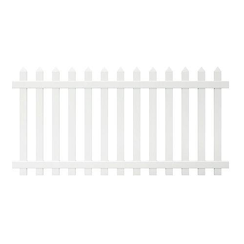 Veranda Panneau de clôture Glendale de vinyle blanc de 1,22 m haut x 2,4 m lar (4 pi haut x 8 pi lar), à lattes espacées pointues