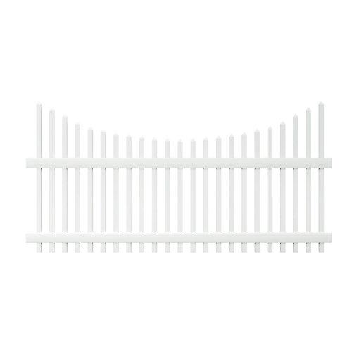 Panneau de clôture Chatham en vinyle blanc de 0,9 m haut x 2,4 m lar (4 pi haut x 8 pi lar) à lattes dentelées espacées - non assemblé