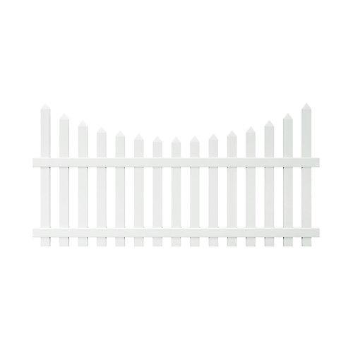 Panneau de clôture Glendale de vinyle blanc de 1,22 m haut x 2,4 m lar (4 pi haut x 8 pi lar), à lattes dentelées espacées avec lattes espacées pointues non assemblées de 7,6 cm (3 po)