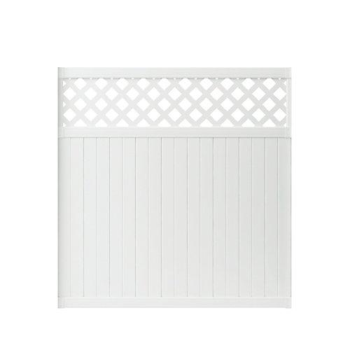 Panneau de clôture Lewiston en vinyle blanc intimité de 1,83 m haut x 1,83 m lar (6 pi haut x 6 pi lar) à haut de treillis