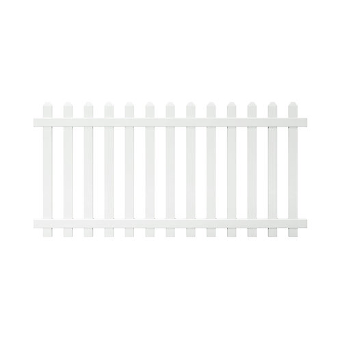 Glendale 4 ft. H x 8 ft. W White Vinyl Spaced Picket Unassembled Fence Panel with Dog Ear Pickets