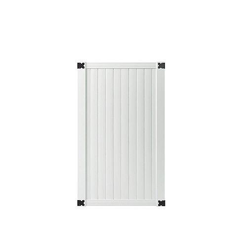 Veranda 3-1/2 ft. W x 6 ft. H White Vinyl Somerset Vinyl Privacy Fence Gate