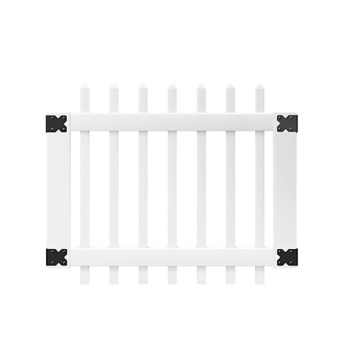 3-1/2 ft. W x 3 ft. H White Vinyl Chelsea Spaced Picket Fence Gate