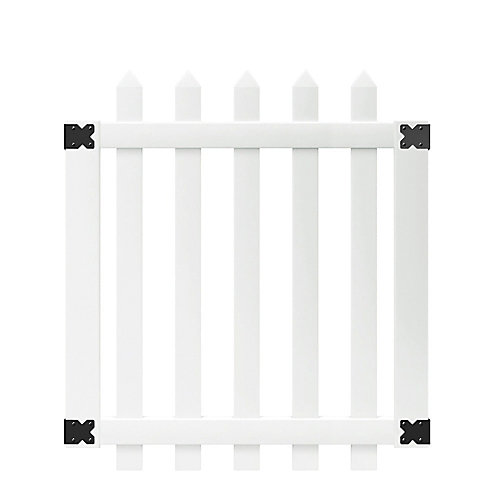 Glendale 3.5 ft. W x 4 ft. H White Vinyl Spaced Picket Fence Gate with 3 inch Pointed Pickets
