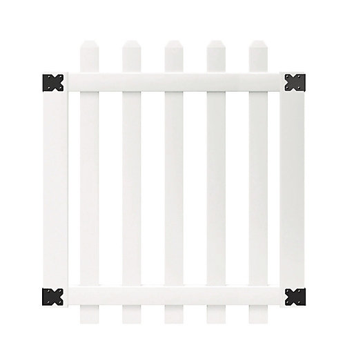 3-1/2 ft. W x 4 ft. H White Vinyl Glendale Spaced Picket Fence Gate with 3 inch Dog Ear Fence Pickets