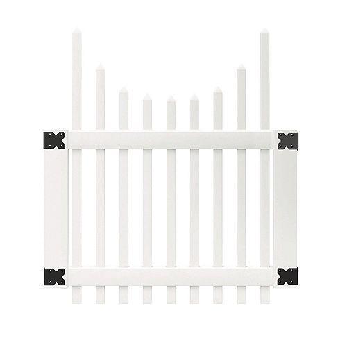 Veranda 3-1/2 ft. W x 4 ft. H White Vinyl Chatham Scalloped Top Spaced Picket Fence Gate