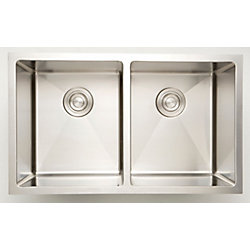 American Imaginations 32-inch W Double Bowl Undermount Kitchen Sink For a Wall Mount Drilling with 10mm Radius