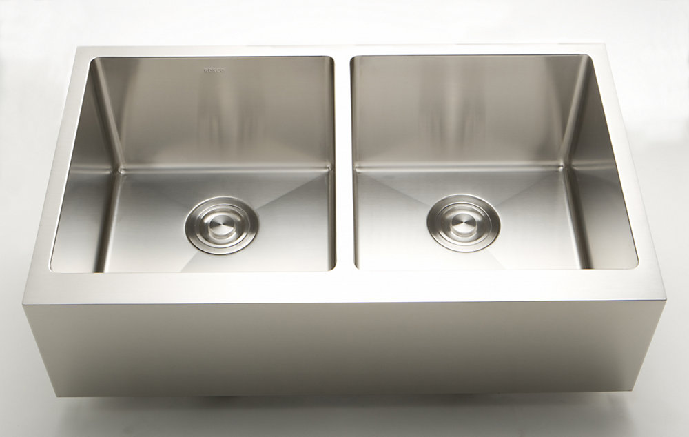 36 Inch W Double Bowl Undermount Kitchen Sink For A Deck Mount Drilling