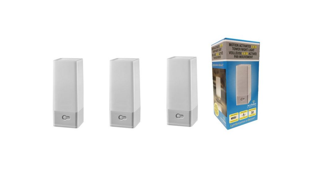 Acclaim 3 Pack LED Battery Operated portable Tower Night Light with motion sensor in dove gray finish.