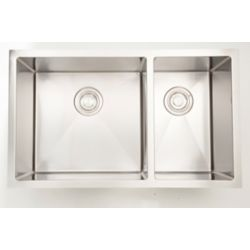 American Imaginations 33-inch W Double Bowl Undermount Kitchen Sink For a Wall Mount Drilling
