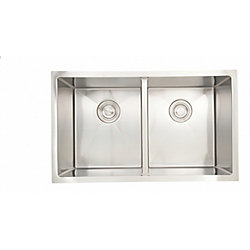 American Imaginations 30-inch W 50/50 Double Bowl Undermount Kitchen Sink For a Deck Mount Drilling