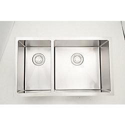American Imaginations 32 po Évier de cuisine en acier inoxydable à encastrer, deux cuves W pour un montage mural