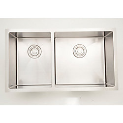 American Imaginations 33-inch W Double Bowl Undermount Kitchen Sink For a Wall Mount Drilling with 3.44 cu.ft