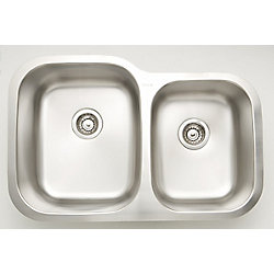American Imaginations 32-inch W Double Bowl Undermount Kitchen Sink For a Wall Mount Drilling with 3.5 cu.ft
