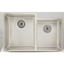 American Imaginations 31.25-inch W 60/40 Double Bowl Undermount Kitchen Sink For a Deck Mount Drilling
