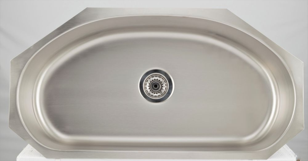 American Imaginations 35.5-inch W Single Bowl Undermount Kitchen Sink For a Wall Mount Drilling