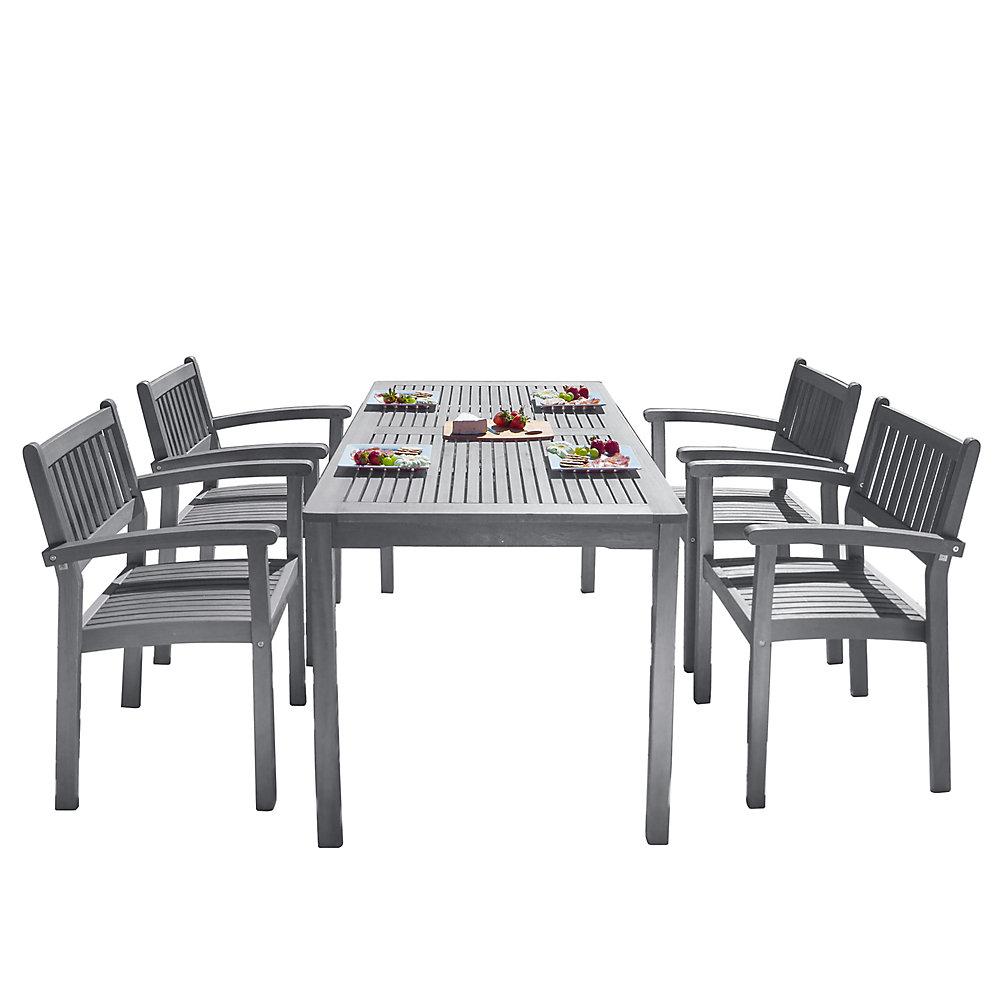 Ensemble de salle à manger 5 pièces en bois gratté à la main avec chaises empilables
