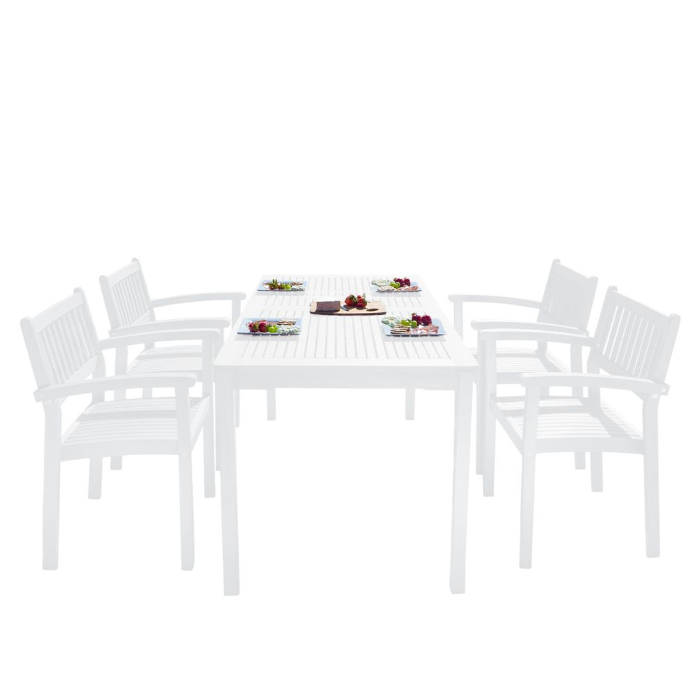Vifah Bradley Outdoor Patio Wood 5-piece Dining Set with Stacking Chairs