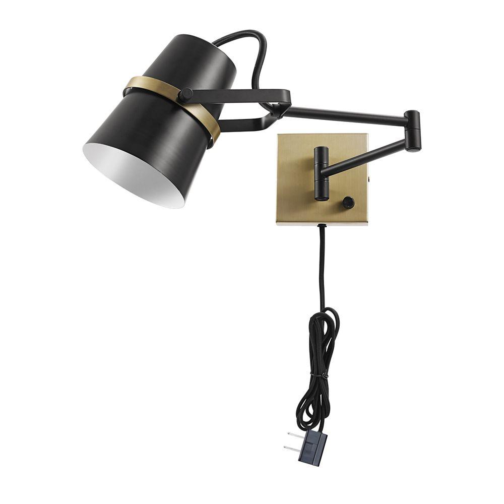 Globe Electric Applique murale avec bras pivotant enfichable ou câblée de la collection McKibbin à 1 lumière Noire