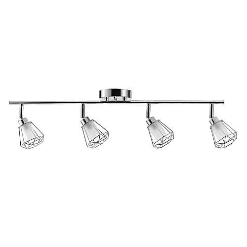 Sansa 4-Light Chrome Track Lighting with Frosted Glass Shades