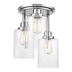 Annecy 3-Light Brushed Steel Semi-Flush Mount Ceiling Light with Clear Glass Shades