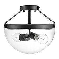 Globe Electric Belsize 2-Light Dark Bronze Semi-Flush Mount Ceiling Light with Clear Glass Shade