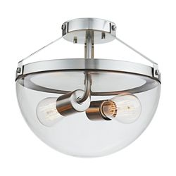 Globe Electric Belsize 2-Light Brushed Steel Semi-Flush Mount Ceiling Light with Clear Glass Shade