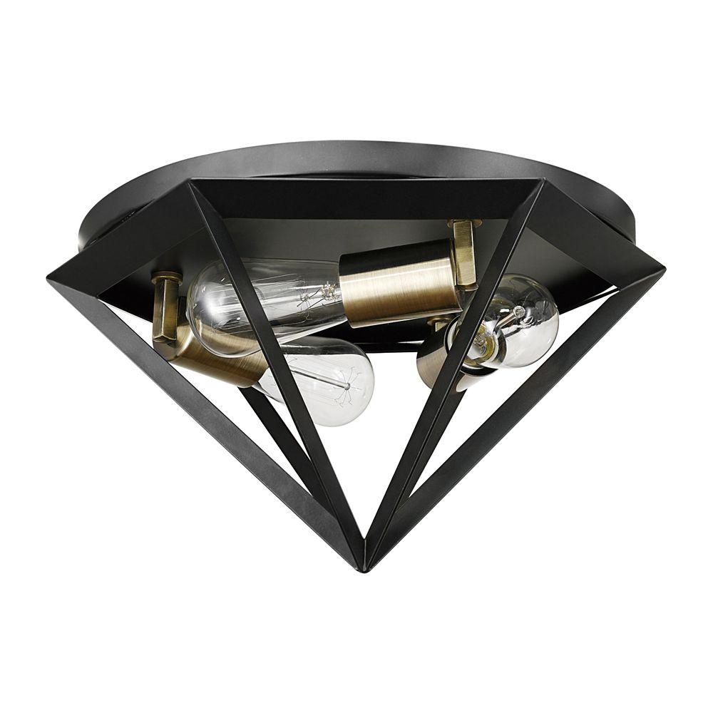 Globe Electric Merton 3-Light Dark Bronze Semi-Flush Mount Ceiling Light with Brass Socket