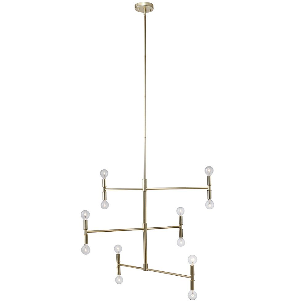 Globe Electric Aldred 12-Light Matte Brass Branch Chandelier, Bulbs Included