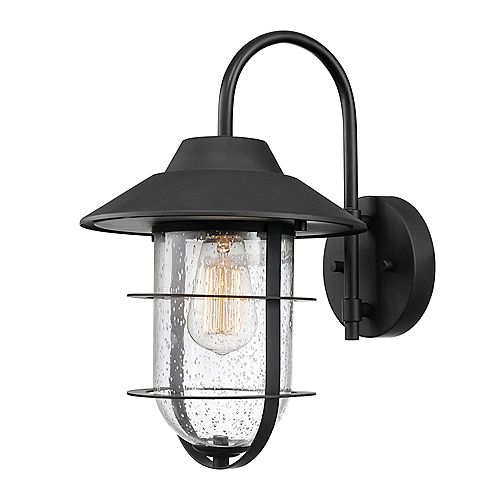 Globe Electric Matthews Matte Black Outdoor Indoor Wall Sconce with Seeded Glass Shade