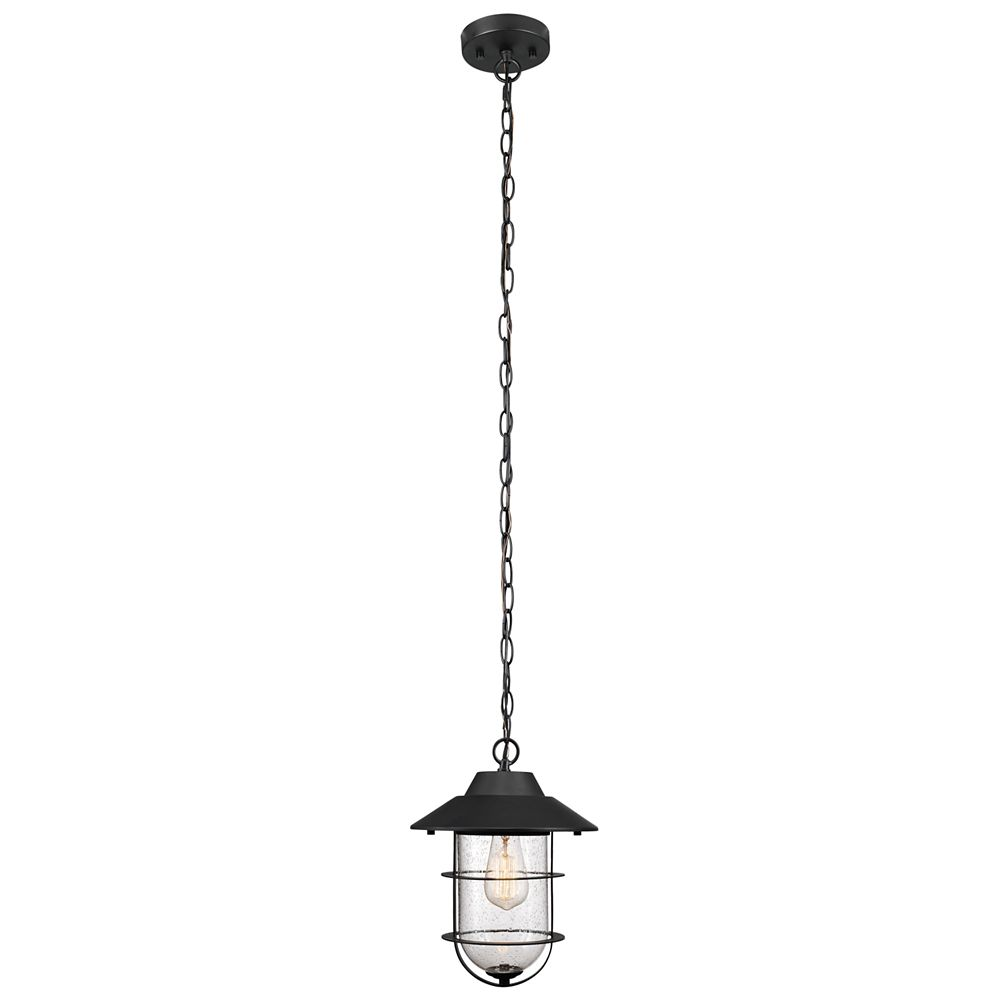 Globe Electric Matthews Matte Black Outdoor Indoor Pendant with Seeded Glass Shade