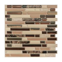 Smart Tiles Tuiles décoratives Peel and Stick pour murs, 10,06 po x 10 po, Bellagio Multi, multicolore, ens. de 4