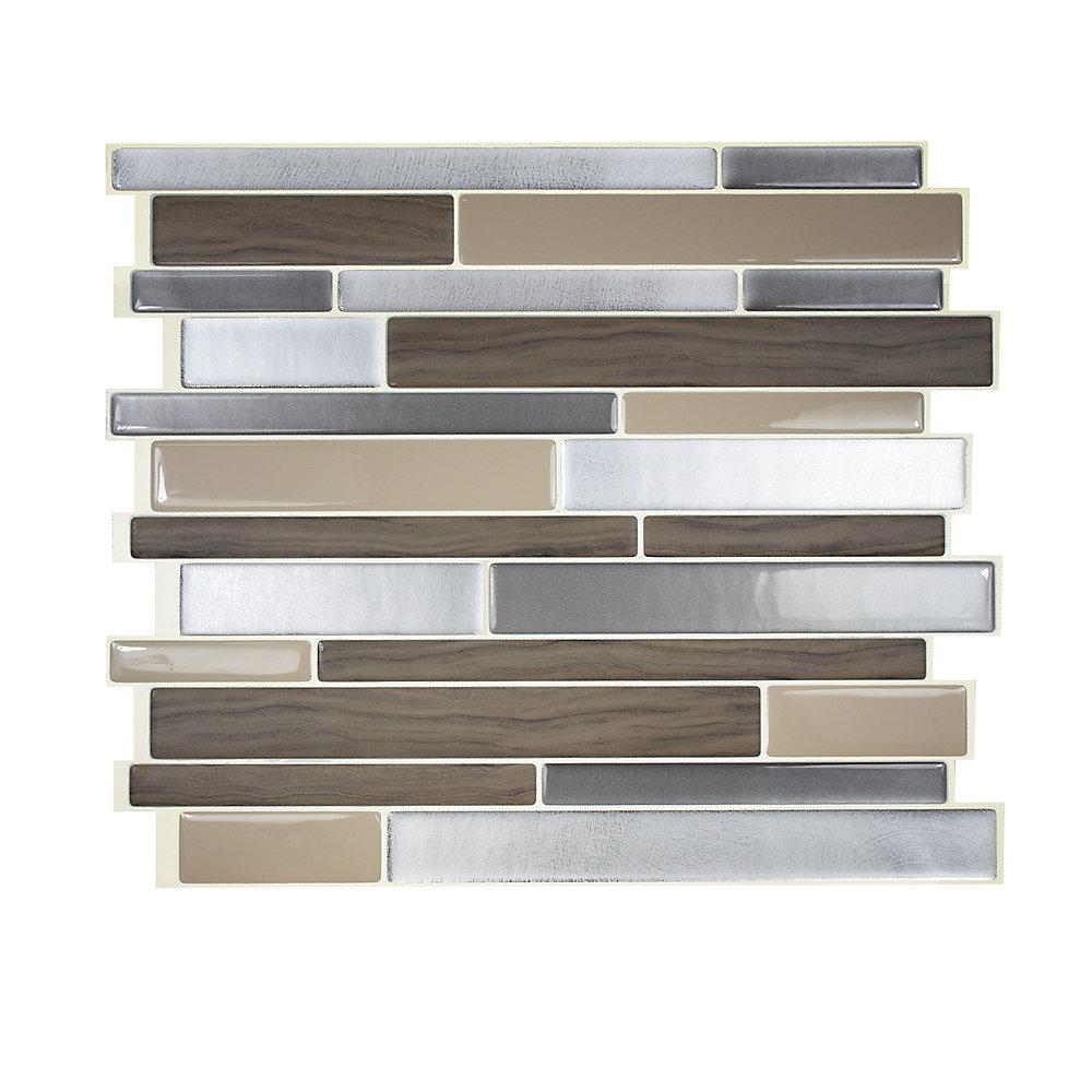 Tuiles décoratives Peel and Stick pour murs, 11,55 po x 9,63 po, Milano Linopo, brun