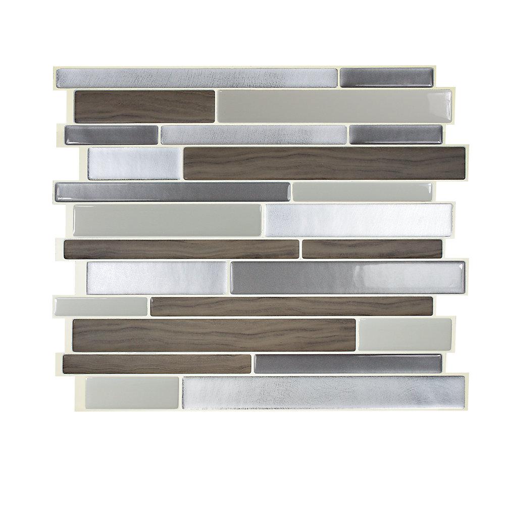 Tuiles décoratives Peel and Stick pour murs, 11,55 po x 9,63 po, Milano Argento, gris