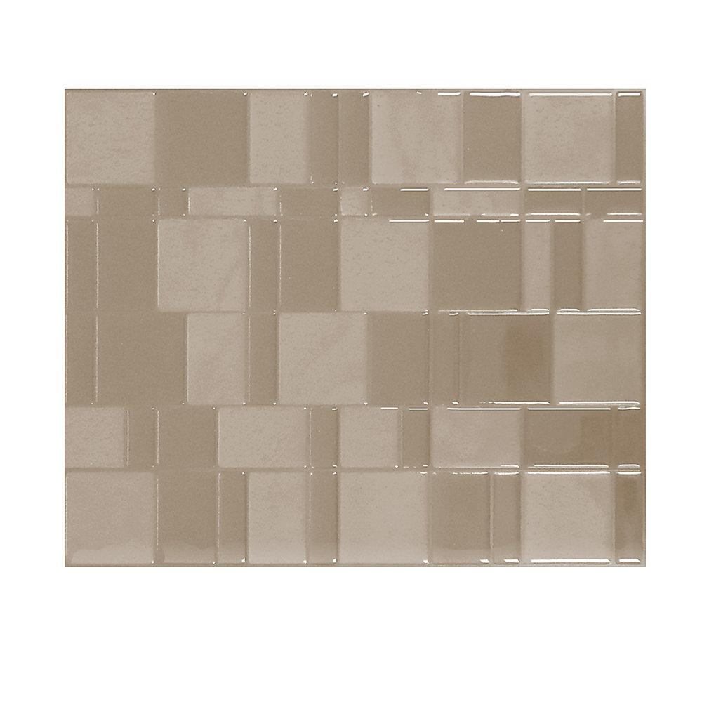 Tuiles décoratives Peel and Stick pour murs, 11,55 po x 9,64 po, Tango Titane, taupe