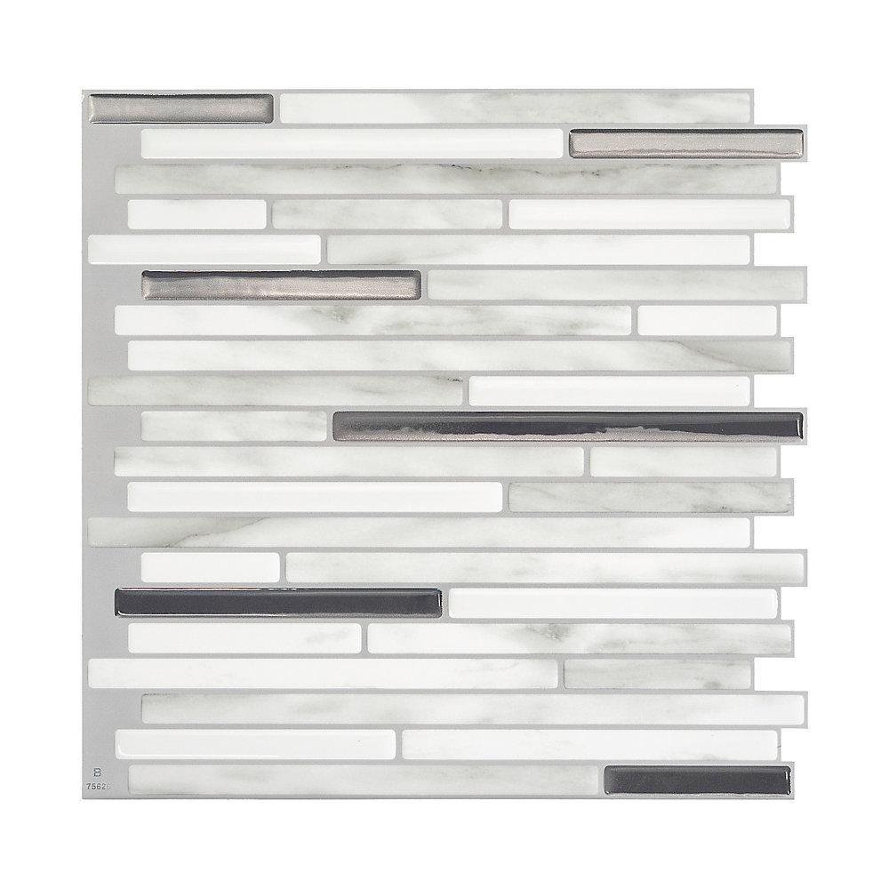 Tuiles décoratives Peel and Stick pour murs, 9,88 po x 9,70 po, Capri Carrera, gris, ensemble de 4