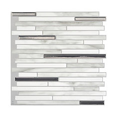Capri Carrera 9.88-inch W x 9.70-inch H Grey Peel and Stick Decorative Wall Tile (4-Pack)