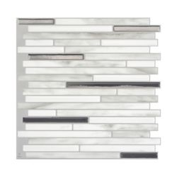 Smart Tiles Tuiles décoratives Peel and Stick pour murs, 9,88 po x 9,70 po, Capri Carrera, gris, ensemble de 4