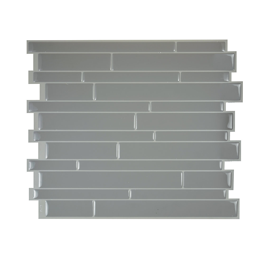 Tuiles décoratives Peel and Stick pour murs, 11,55 po x 9,63 po, Milano Platino, gris