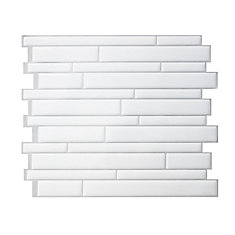 Milano Blanco 11.55-inch W x 9.63-inch H White and Grey Peel and Stick Decorative Wall Tile (4-Pack)
