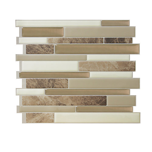 Milano Sasso Multi 11.55-inch W x 9.63-inch H Peel and Stick Decorative Wall Tile (4-Pack)