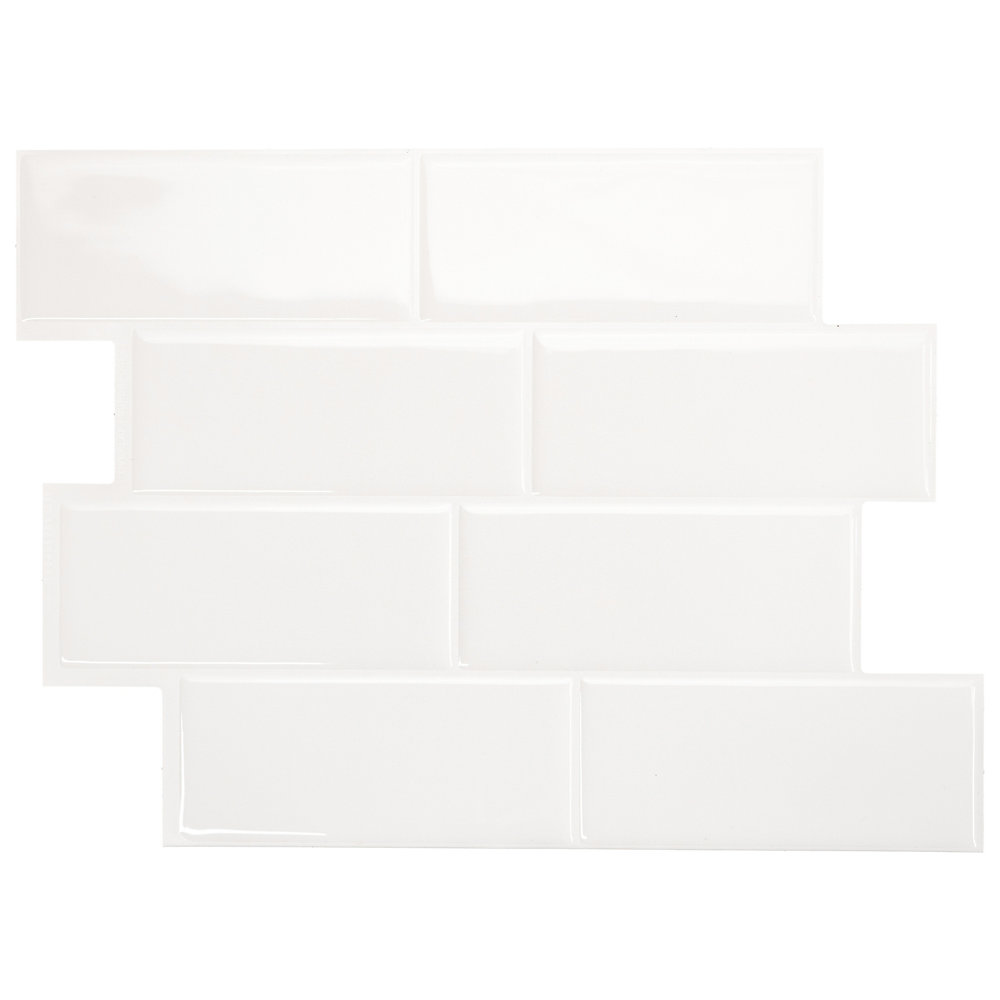 Tuiles décoratives Peel and Stick pour murs, 11,56 po x 8,38 po, Metro Blanco, ensemble de 4