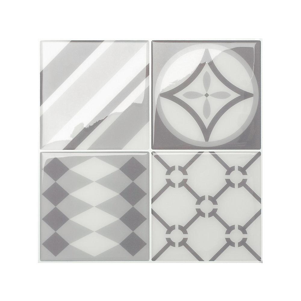 Tuiles décoratives Peel and Stick pour murs, 9 po x 9 po, Vintage Gallo, gris, ensemble de 4