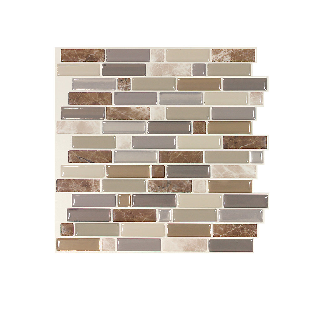 Crescendo Terra 9.73-inch W x 9.36-inch H Brown and Beige Peel and Stick Decorative Wall Tile